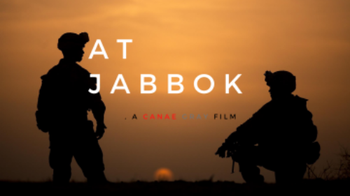 """At Jabbok poster with title text along with """"A Canae Gray Film"""" against image of soldiers silhouetted against a sunset, one standing and the other kneeling on one knee"""
