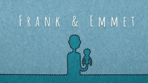 Frank & Emmet poster with text against illustrated image of an indistinguishable person holding a puppet
