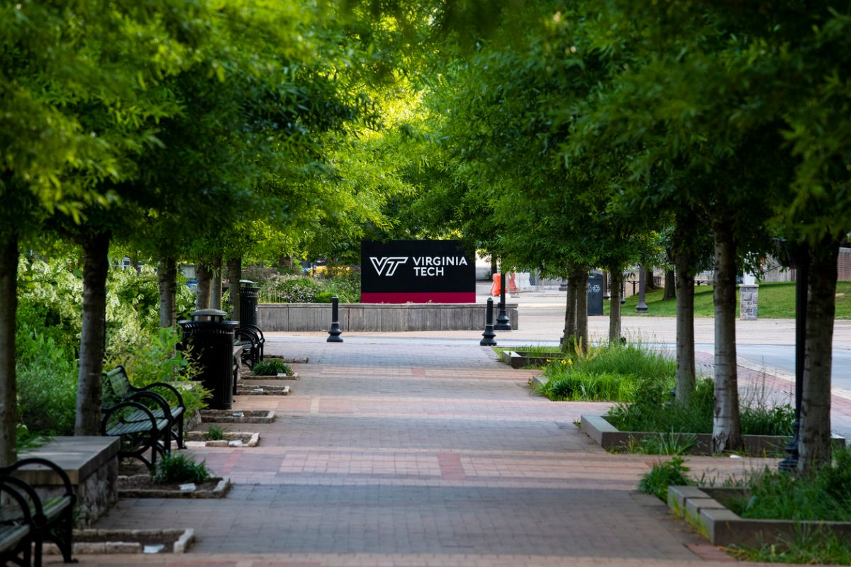 Green trees line a brick walkway leading to a black and red Virginia Tech sign