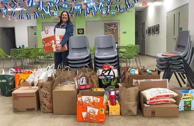 Lauren sorting food donations