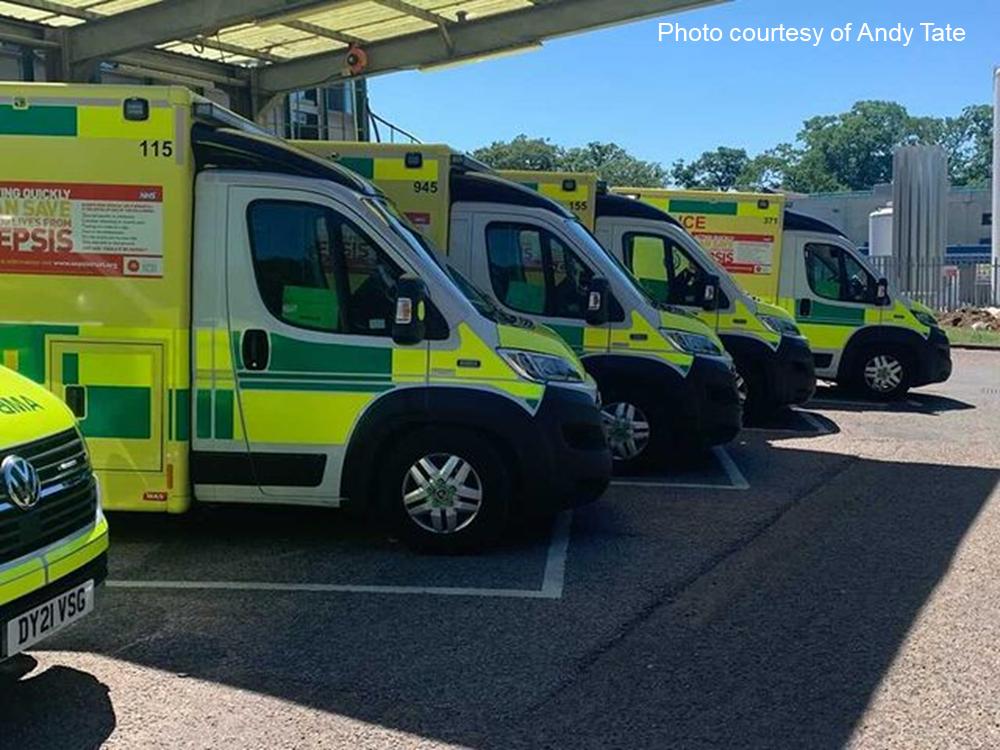 Row of parked ambulances