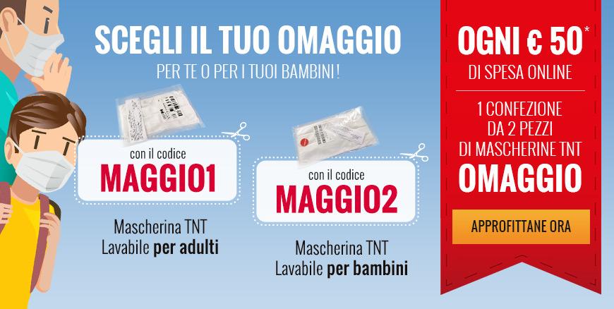 Ogni € 50 di spesa online 1 confezione da 2 pezzi di mascherine TNT OMAGGIO! Per te o per i tuoi bambini!