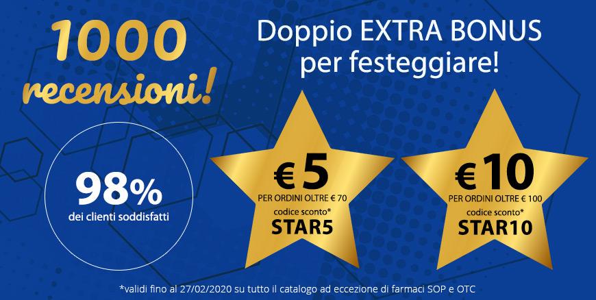 Doppio EXTRA BONUS PER TE! € 5 per ordini oltre € 70 con il codice sconto STAR5, € 10 per ordini oltre € 100 con il codice sconto STAR10