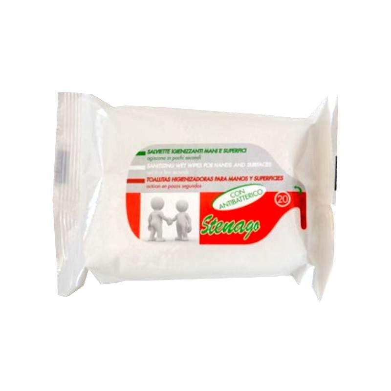 Salviettine igienizzanti mani e superfici con antibatterico 20 pezzi