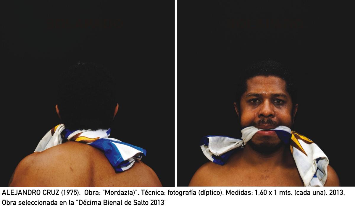 "ALEJANDRO CRUZ (1975).  Obra: ""Mordaz(a)"". Técnica: fotografía (díptico). Medidas: 1,60 x 1 mts. (cada una). 2013. Obra seleccionada en la ""Décima Bienal de Salto 2013"""