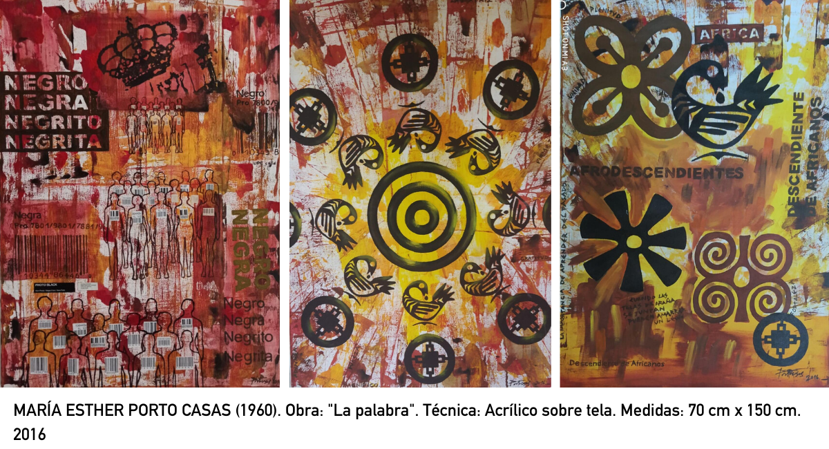 "MARÍA ESTHER PORTO CASAS (1960). Obra: ""La palabra"". Técnica: Acrílico sobre tela. Medidas: 70 cm x 150 cm. 2016"