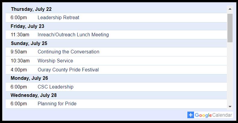 Community Spirit Church ★ Calendar of Events (click for details)