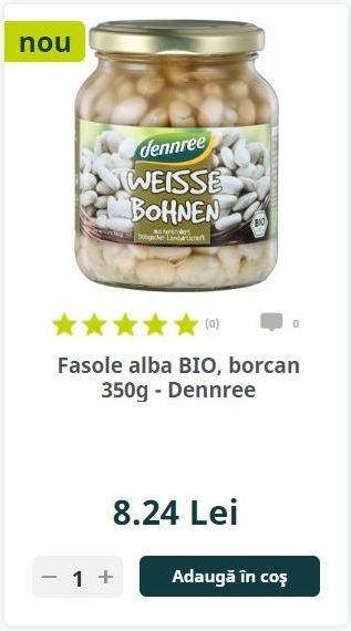 Fasole alba BIO, borcan 350g - Dennree