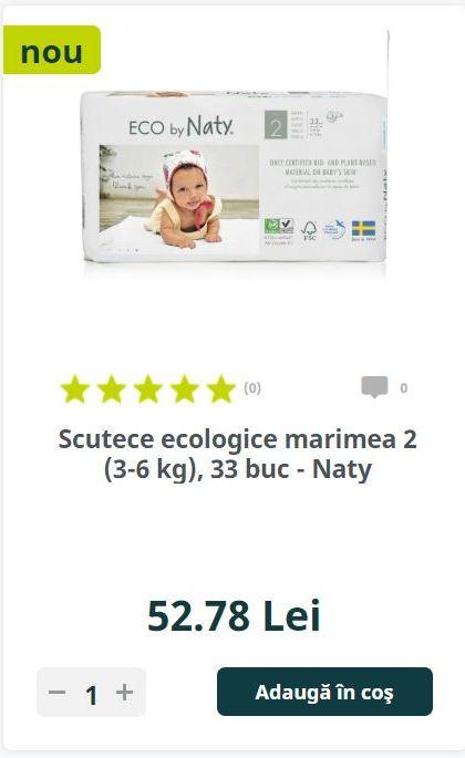 Scutece ecologice marimea 2 (3-6 kg), 33 buc - Naty