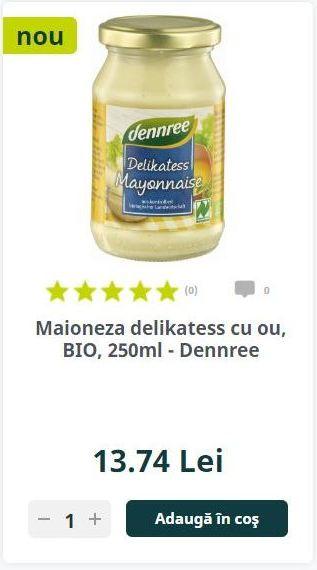 Maioneza delikatess cu ou, BIO, 250ml - Dennree