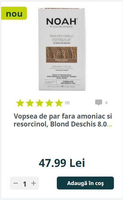 Vopsea de par fara amoniac si resorcinol, Blond Deschis 8.0.