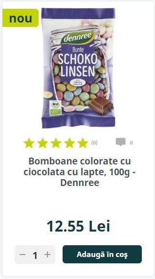 Bomboane colorate cu ciocolata cu lapte, 100g - Dennree