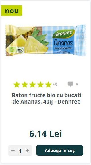 Baton fructe bio cu bucati de Ananas, 40g - Dennree