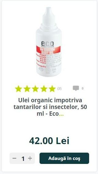 Ulei organic impotriva tantarilor si insectelor, 50 ml - Eco...