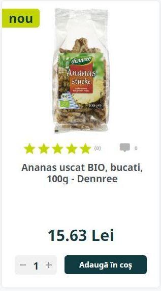 Ananas uscat BIO, bucati, 100g - Dennree