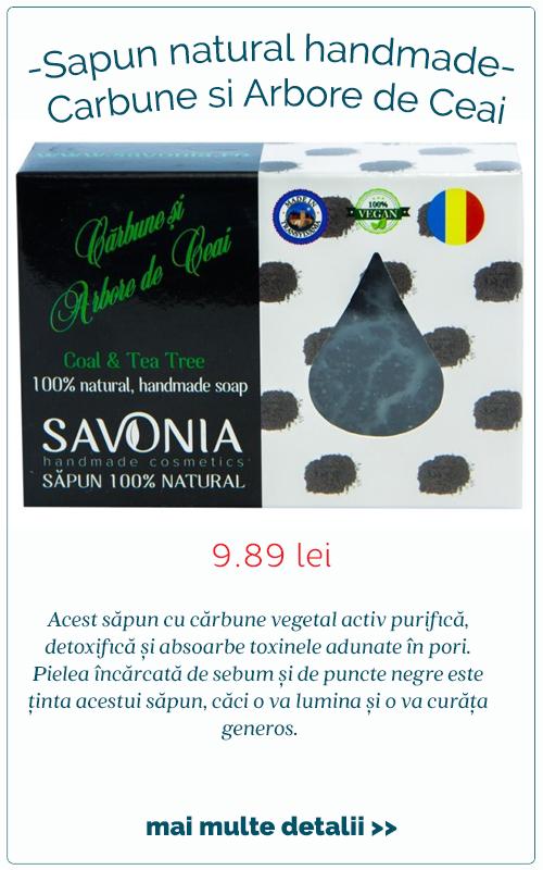 Sapun natural handmade Carbune si Arbore de Ceai - Savonia