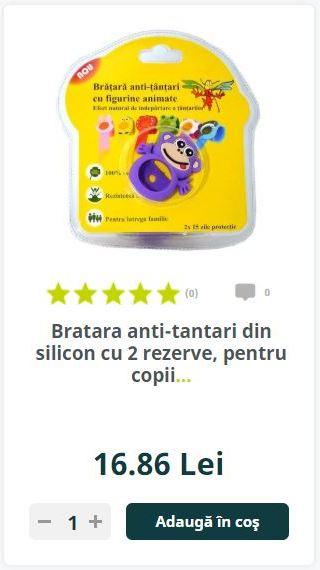 Bratara anti-tantari din silicon cu 2 rezerve, pentru copii...