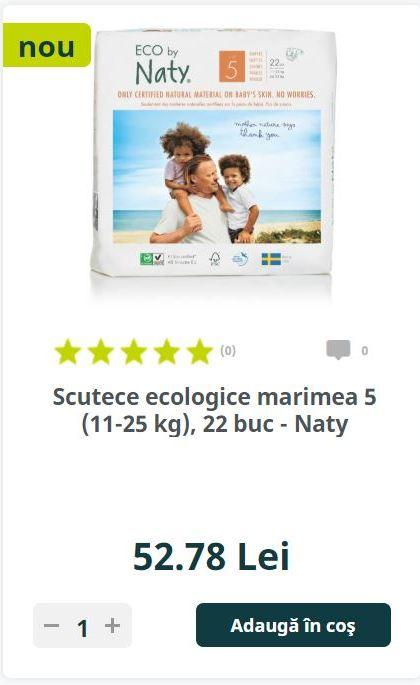 Scutece ecologice marimea 5 (11-25 kg), 22 buc - Naty
