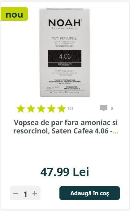 Vopsea de par fara amoniac si resorcinol, Saten Cafea 4.06 -.