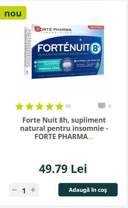 Forte Nuit 8h, supliment natural pentru insomnie - FORTE PHARMA