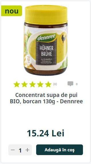 Concentrat supa de pui BIO, borcan 130g - Dennree