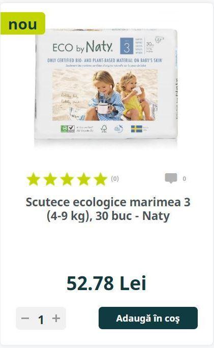 Scutece ecologice marimea 3 (4-9 kg), 30 buc - Naty