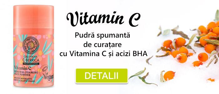 Pudra spumanta de curatare cu Vitamina C si acizi BHA