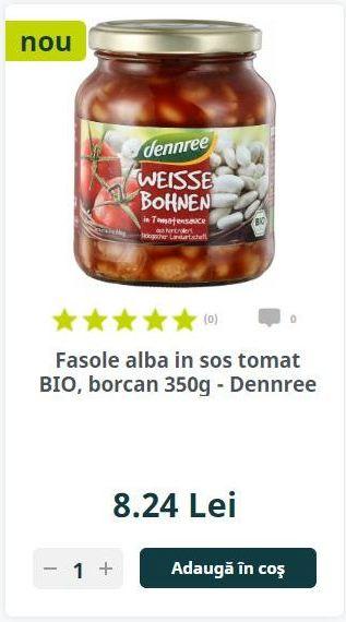 Fasole alba in sos tomat BIO, borcan 350g - Dennree