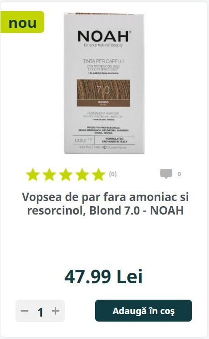 Vopsea de par fara amoniac si resorcinol, Blond 7.0 - NOAH