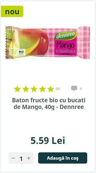 Baton fructe bio cu bucati de Mango, 40g - Dennree