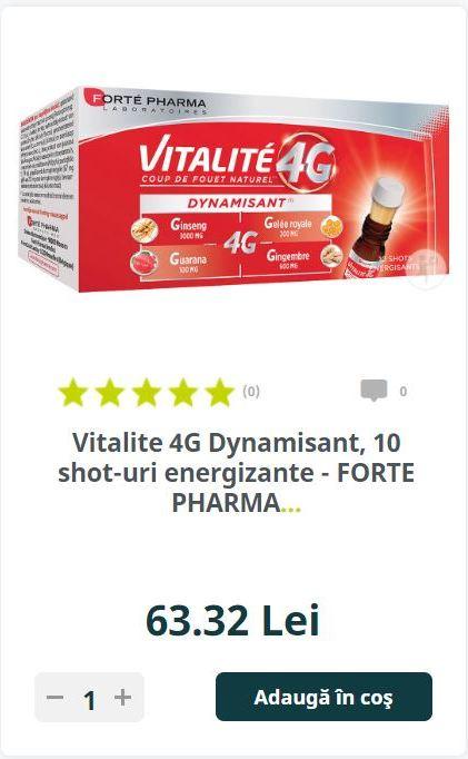 Vitalite 4G Dynamisant, 10 shot-uri energizante - FORTE PHARMA.