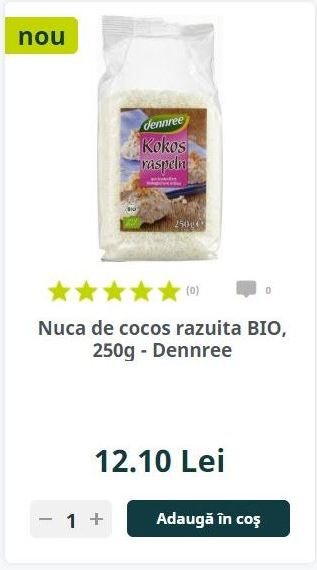 Nuca de cocos razuita BIO, 250g - Dennree