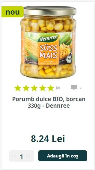 Porumb dulce BIO, borcan 330g - Dennree
