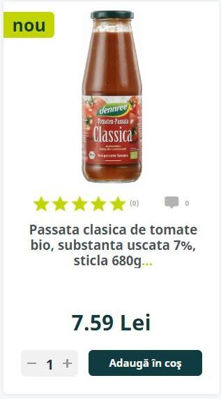 Passata clasica de tomate bio, substanta uscata 7%, sticla 680g...