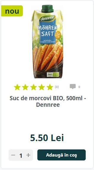 Suc de morcovi BIO, 500ml - Dennree