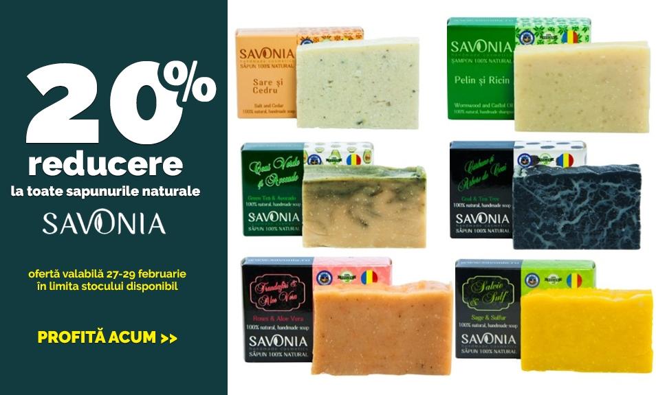 20% REDUCERE la sapunuri 100% naturale marca Savonia
