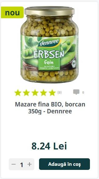 Mazare fina BIO, borcan 350g - Dennree