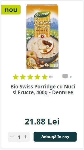 Bio Swiss Porridge cu Nuci si Fructe, 400g - Dennree