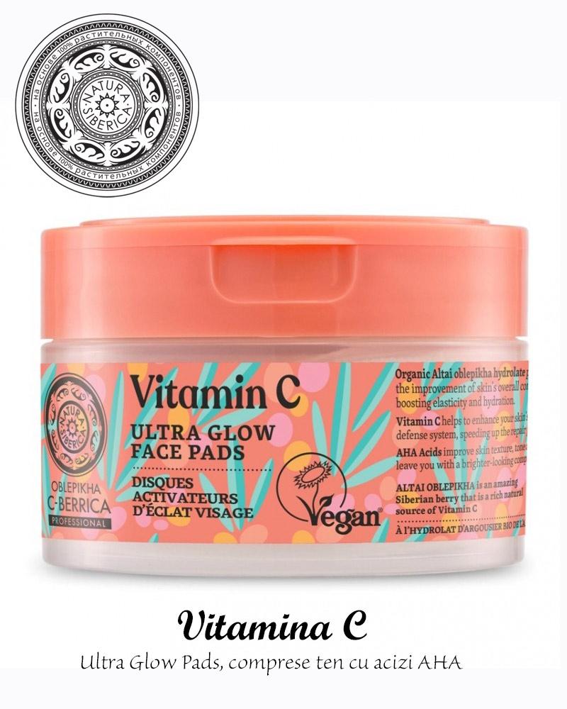 Ultra Glow Pads, comprese ten cu vitamina C si acizi AHA, 20buc