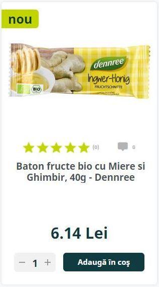 Baton fructe bio cu Miere si Ghimbir, 40g - Dennree