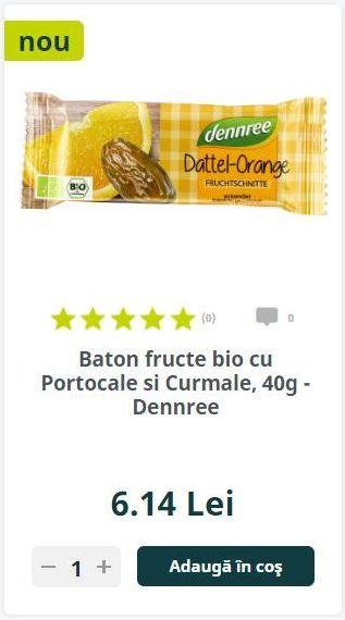 Baton fructe bio cu Portocale si Curmale, 40g - Dennree