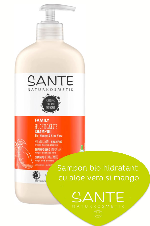 Sampon bio hidratant cu aloe vera si mango, 500ml - SANTE NATURKOSMETIK...