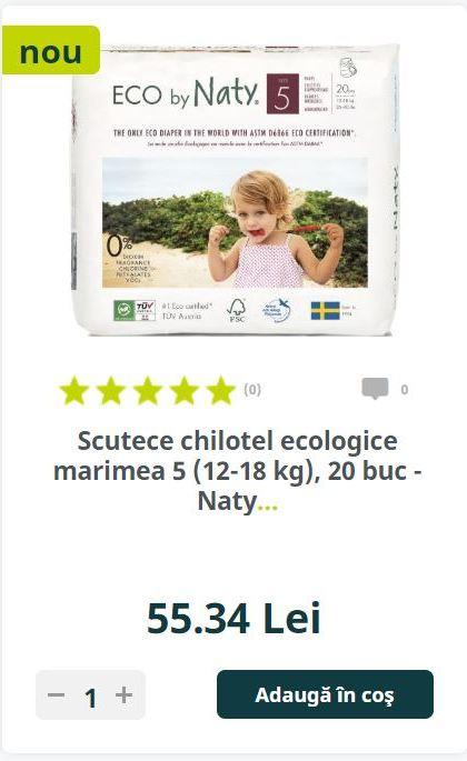 Scutece chilotel ecologice marimea 5 (12-18 kg), 20 buc - Naty.
