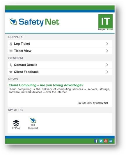 Screenshot of ITSupportPanel