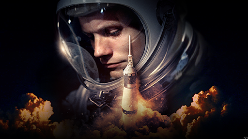 Astronaut with rocket launching in front of him
