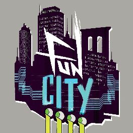 fun city logo, backed with a gritty city skyline