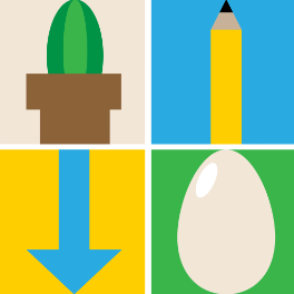 Empty the Queues podcast logo: a cactus, a pencil, a blue arrow, and an egg in a four-square checkerboard