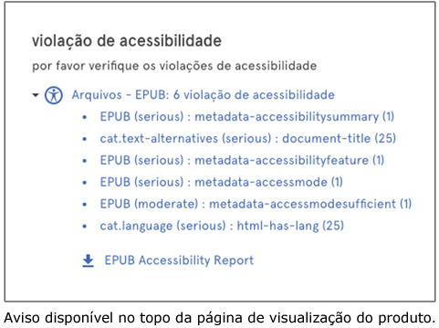 Outra captura de tela do nosso validador, na qual vemos o detalhamento das violações de acessibilidade e o link para se baixar o relatório completo gerado pelo ACE.