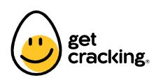 Egg with a smile saying 'get cracking'.