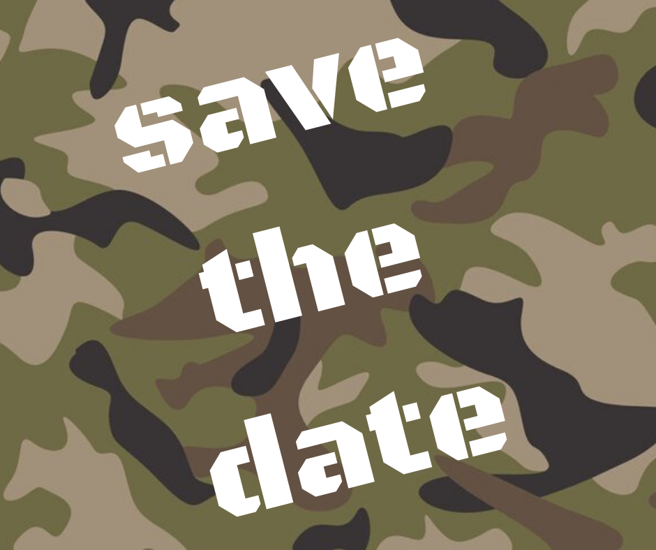 Save the Date in white on a camo background